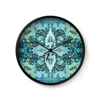Decorative Wall Clock with a lacy pattern of roses in aqua and mint for home decor or office decor