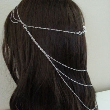 Cleopatra Silver headchain, headpiece, hair piece, boho chain hair accessory, Queen, Goddess, Grecian style accessories by Live Love Leaf