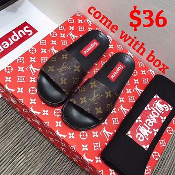 Sale Louis Vuitton LV X Supreme Flip Flop Sandal Men Women Black/Brown Slipper