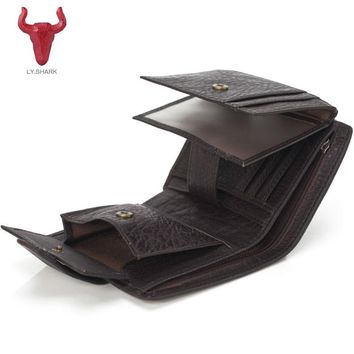 LY.SHARK Men Wallets Genuine Leather men wallet male clutch coin purse oil wax slim Short Men Wallet Purse Card Holder money bag