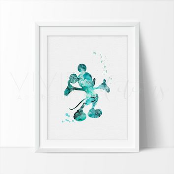 Mickey Mouse 3 Watercolor Art Print