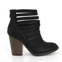 Soda Shoes Kelly Caged Ankle Booties in Black KELLY-S-BLK