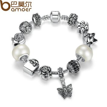 Friendship Bracelets amp Bangles with White Glass Bead Butterfly Female Bead Bracelet Jewelry PA1479