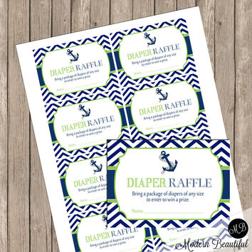 "Diaper Raffle- Lime and Navy Chevron Anchor ""Diaper Raffle Card"" - Baby Shower Invitation Insert Card - Nautical2 INSTANT DOWNLOAD"
