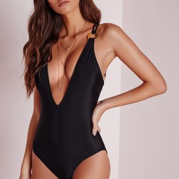 Missguided - Plunge Eyelet Detail Swimsuit Black