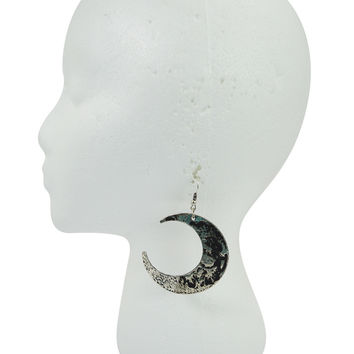 Goth Occult Textured Antique Silver Luna Large Crescent Moon Occult Witch Earrings