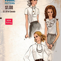 1960s Vogue Sewing Pattern Mad Men Style Retro Mod Business Shirt High Neck Ruffle Collar Blouse Dart Fitted Bust 32