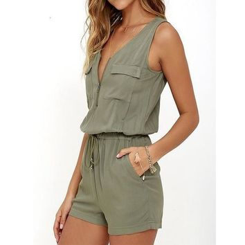Women's Summer/Beach Front Zipper Sleeveless Jumpsuit