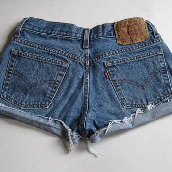 Levi's 505 Cut Off Denim Jean Shorts distressed 5 jr 27""