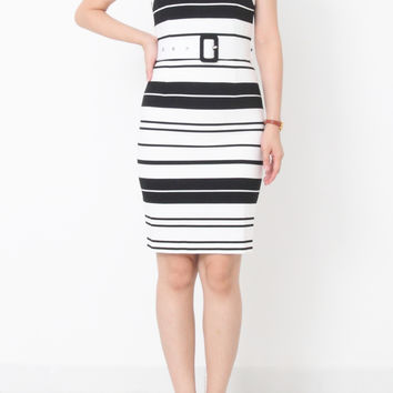 SOFEE Black and White Strip Dress with Belt
