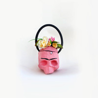 Frida Kahlo skull shaped Purse - modern handmade eccentric pink bag - flowers eco friendly upcycling paper mache