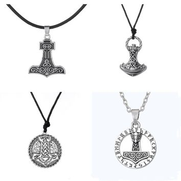 Dawapara Supernatural Thor's Hammer Mjolnir Knots  Norse Thor Chain Male Viking Gothic Necklace&Pendant Jewelry Scandinavian
