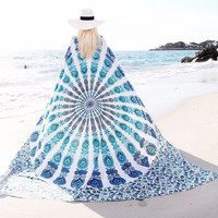 Chiffon Bohemia Round Beach Towel Meditation Mandala Towel Square Rectangle Hippie Peacock Mandala Tapestry Wall Hanging 150cm