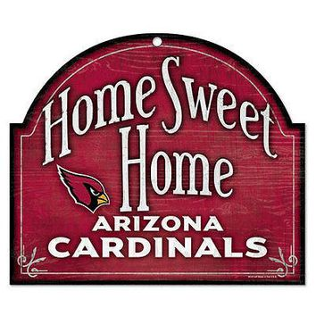 "ARIZONA CARDINALS HOME SWEET HOME ARCHED WOOD SIGN 10""x11"" BRAND NEW WINCRAFT"