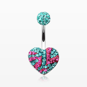 Multi-Gem Sparkle Majestic Stripe Heart Belly Button Ring