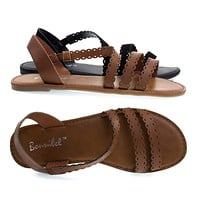 Dotty4 By Bonnibel, Open Toe Flat Sandal w Triple Perforated Straps. Women's Summer Shoes