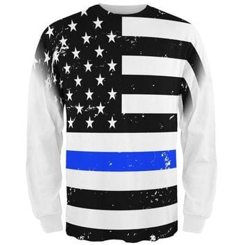 DCCKU3R Distressed Thin Blue Line American Flag All Over Mens Long Sleeve T Shirt
