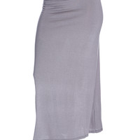 Dark Grey Folded Waistband Maxi Skirt