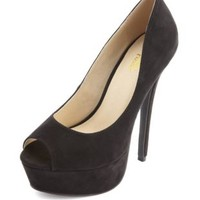 Sueded Peep Toe Platform Pump by Charlotte Russe - Black