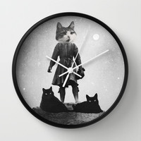 Cats (Black & white) Wall Clock by Elisabeth Fredriksson