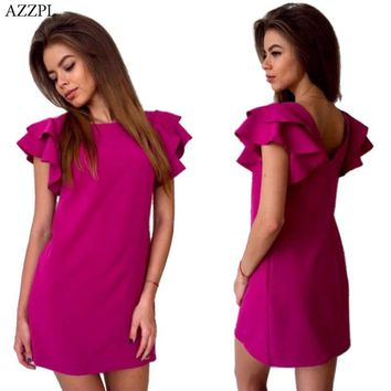 AZZPL Womens Summer Style Sexy Backless Beach shirt dress Red Green O-neck short sleeve Mini Party Club Dresses Vestidos