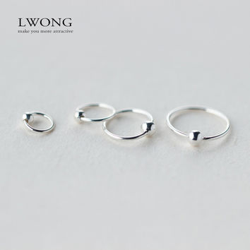 Minimalist Ear Piercing Tragus Helix Cartilage Earrings 925 Sterling Sliver Tiny Ball Huggie Hoop Earrings 6mm 8mm 10mm 12mm
