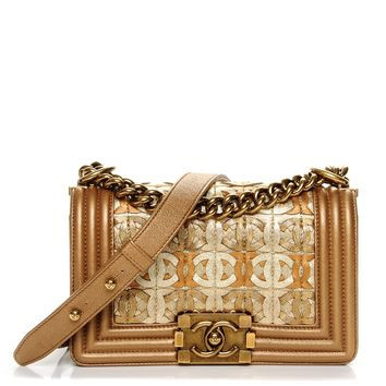 CHANEL Metallic Lambskin Small Golden CC Boy Flap Dark Gold