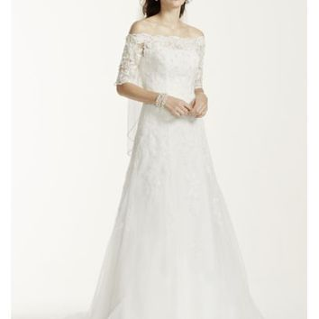 Off The Shoulder Lace Wedding Dress with Sleeves - Davids Bridal