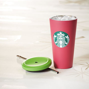 Cold Cup Tumbler - Pink with Green Dot, 16 fl oz