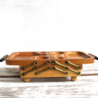 vintage wooden organizer tray / fold out caddy