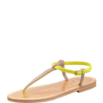 Picon Two-Tone Thong Slingback Sandal - K. Jacques