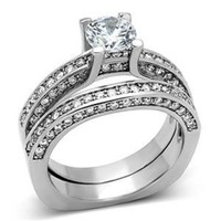 Brilliant Cut CZ Stainless Steel Wedding Ring Set