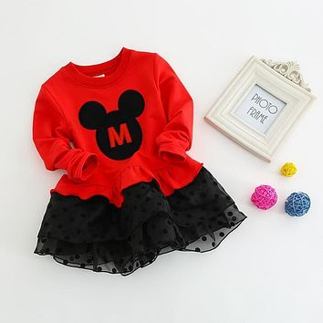 Kids Dresses For Girls 2017 Long Sleeves Girls Dress Cotton Chiffon Minnie Mouse Dress 2-8 Years Toddler Dress Costume
