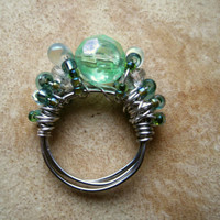 Mermaid Winter Beaded Cocktail Ring Silver Wire by PiggleAndPop