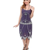 Iconic by UV Exclusive Dusty Purple & Silver Sequined Gatsby Flapper Dress
