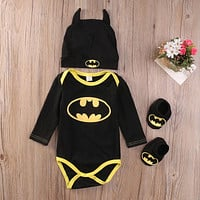 Batman Clothes Outfit Boys Rompers Onesuit Baby Set with Shoes Hat