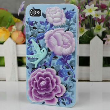 three-dimensional flower and reseda  kotjebi  Hard Case Cover for Apple iPhone 4 Case, iPhone 4s Case, iPhone 4 Hard Case,