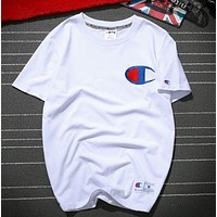 Champion New fashion embroidery Cotton couple top tee T-shirt blouse White