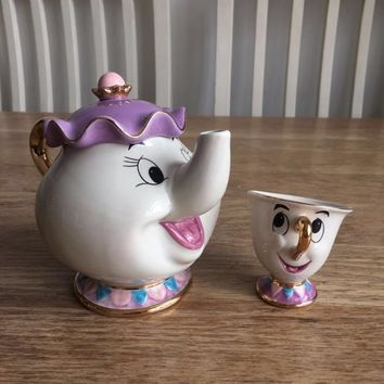 Cartoon Beauty And The Beast Mug Tea Set Teapot Mrs Potts POT Chip Cup Mug One Set for friend Lovely Gift Fast Post