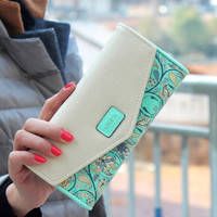Women's Fashion New Floral Leather Wallet Long Envelope Clutch Purse Card ID Holder Delicate Casual Trifold Ladies Cash Phone Bag 5 Colors = 1931950468