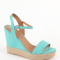 Black Poppy Mixed Espadrille Wedges at PacSun.com