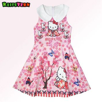 2017 Cute Hello Kitty Printed Girl Princess Dress European And American Style Turn-down Collar Children Dress