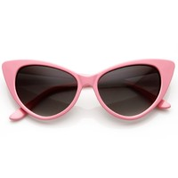 zeroUV - Super Cateyes Vintage Inspired Fashion Mod Chic High Pointed Cat-Eye Sunglasses (Light Pink)