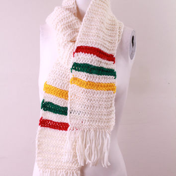 Vintage - 70s - Ivory Cream - Hudson Bay Style - Red Yellow & Green Stripe - Chunky Hand Knit - Long Fringe Scarf - Unisex