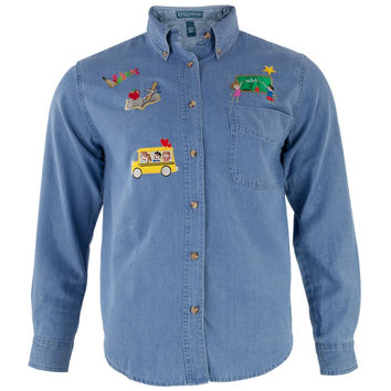 Schoolhouse Teacher's Patch Denim Button Up Adult Long Sleeve Shirt