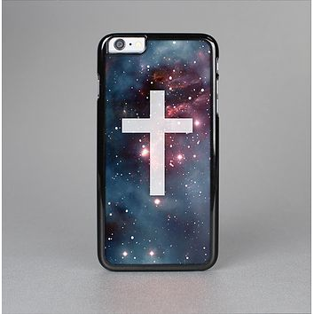 The Vector White Cross v2 over Red Nebula Skin-Sert Case for the Apple iPhone 6 Plus