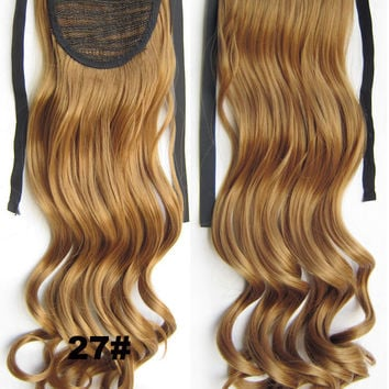 Curly synthetic hair extension,Ribbon ponytail synthetic hair extension Clip In on Hair Pony,Wavy Hairpiece,woman wigs,wig hairs,Accessories,Bath & Beauty RP-888 27#
