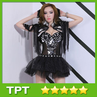 New Arrival Sexy Female DJ Dance Stage Outfits Sequins Wear Black Net Set for Lady Night Club Leader Singer 8368