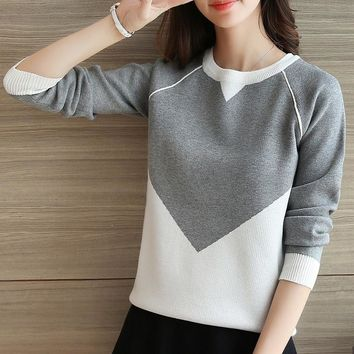 2018 Korean version of the new loose-sleeved sweater sweater knit sweater long-sleeved students fitted jacket sweater women