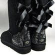 Swarovski Crystal Embellished TALL Bailey Bow Uggs in Jet Hematite Crystals - Winter / Holiday Bling UGGs 2013